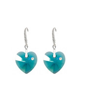 Aretes Mujer Corazón Blue Zircone Swarovski Elements