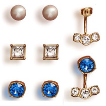 Hermoso 3 Pares D Aretes Cristal Perla Y Cristal Azul Unique