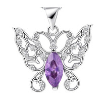 Mujer Madre Collar Mariposa Plata 925 Cristales Swarovsky