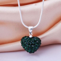 Collar Swarovski Crystal Corazon Verde Cadena Plata 925