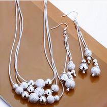 Collar Y Aretes De Plata 925 Con Esferas