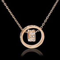 Collar Amor Corazon + Anillo Swarovski Crystal Oro 18k