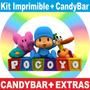 Kit Imprimible Pocoyo Cumpleaños Tarjetas + Candy Bar