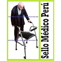 Andador Ortopédico C Asiento Y Ruedas De Aluminio Regulable