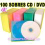 Paquete De Cien Sobres Duales P/ Cd Dvd Bd En Varios Colores