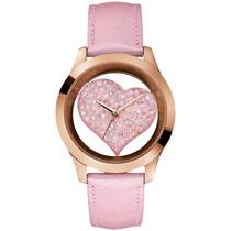 Reloj Guess De Mujer 43mm U0113l5 Correa De Cuero Rosa