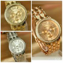 Reloj Geneva Con Brillantes Nuevo Solo Color Dorado