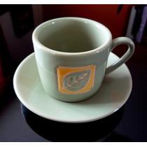 Set De 5 Tazas Y Platitos Mate De Coca Cafe O Te Porcelana