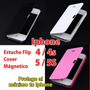 Estuche Case Flip Cover Iphone 4 4s 5 5s + Mica + Stylus