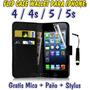Estuche Case Wallet Iphone 4 4s Iphone 5 5s + Mica + Stylus