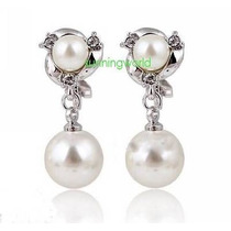 Aretes Largos Perla Swarovski Elements Crystal Oro Blanco 18