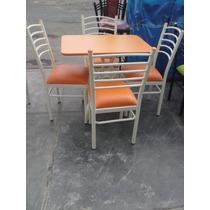 Mesamelamina Con 4 Sillas En Color Naranja ( Nuevo )