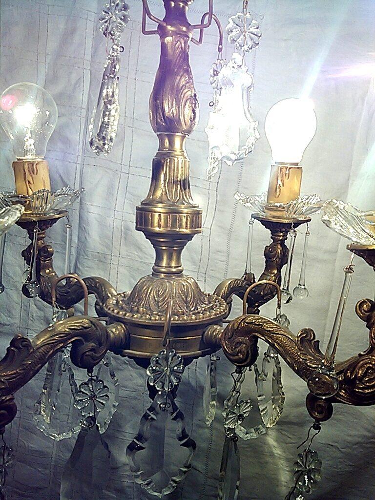 Lampara antigua de bronce y cristal - Lamparas de cristal antiguas ...