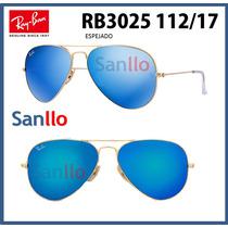Lentes De Sol Aviador Rb3025 112/17 Blue Azul Espejado