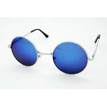 Lentes Uv 400 Y Flex John Lennon Ozzy Redondos Tornasol Azul