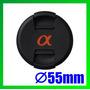 Tapa Delantera 55mm P/ Lente Sony Alpha Con Logo 18-55