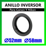 Anillo Inversor P/canon Y Nikon 52mm 58mm Fotografia Macro