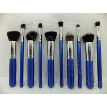 Aliferstyler Set 10 Brochas Kabuki Maquillaje Azul Safiro