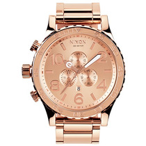 Reloj Nixon A083-897 Oro Rosa 51-30 Cronógrafo Nuevo En Caja