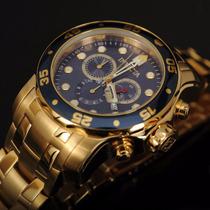 Reloj Invicta Pro Diver 0073 Cronógrafo Enchapado En Oro 18k
