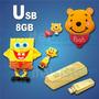 Memoria Usb 8gb Diseño Winnie Pooh, Lingote Oro, Bob Esponja