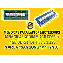 Memoria Sodimm Para Laptops 4gb Ddr3 Y Ddr3l 1.5v 1.35v 8gb