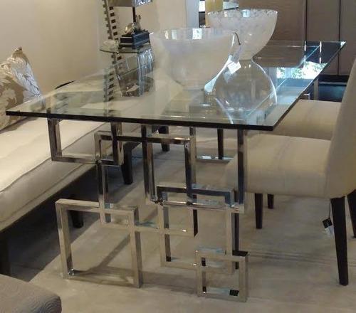 Mesa comedor en acero vidrio y madera car interior design for Mesas de comedor de vidrio y metal