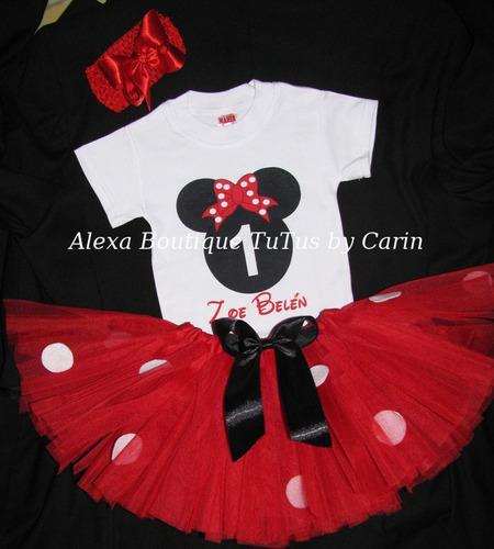 Minnie Mouse Tutu Vestido Tutus 3 Piezas Falda Polo Y Lazo - S ...