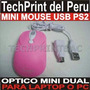 Mouse Mini Optico Usb Ps2 Color Rosado Laptop Pc Navidad