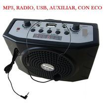 Amplificador Portatil Con Entrada De Micro, Usb.+ Radio