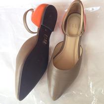 Zapatos Elle Nuevos De Cuero Flats Ballerinas Plomo Naranja