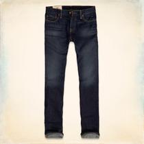 Jeans Hollister Rectos Clasicos - Lavado Oscuro - Tallas