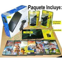 Play Station Ps2 2 +2mandos+memoria+juegos Chipeado