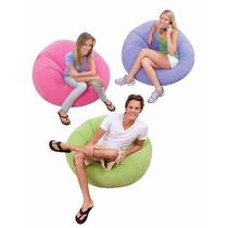 Sillón Puff Apeluchado Inflable En 3 Colores - Marca Intex