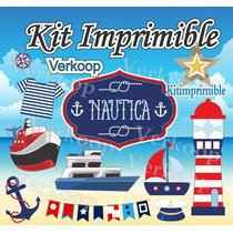 Kit Imprimible Nautico Navy Candy Bar Marinero Fiesta Mar P