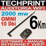 Auditoria Usb Wifi 2000 Mw Reales 6 Km Alcance Seguridad Wep