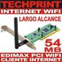 Tarjeta Edimax Pci Wifi 54mb Internet Inalambrico Pc Cliente