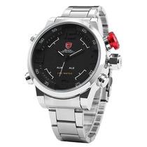 Reloj Shark Gulper Inoxidable, Dual Time Análogo Y Digital.