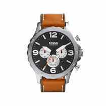 Fossil Jr1486 Nate Stainless Steel Watch With Brown Leather