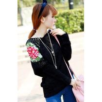 Sweater Chompa Casaca Casual Bordado Rosa Crochet En Stock