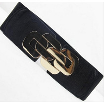 Oix Closet Correa Cinturón Negro Elástico Decoración Dorada
