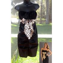Vestido Fiesta Matrimonio Strapless Corto Negro 7 M S Stock