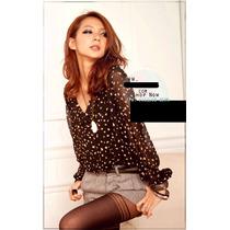 Chicas Glamorosas - Blusa Lunares Chiffon Importado Asia