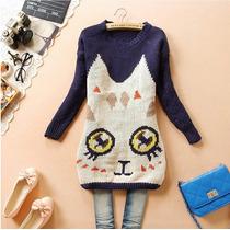 Claudia Shop Sweater Cardigan Gato Tejido Importado Pedido