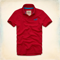 Polo Camisero Hollister Wipeout Beach - Rojo - Azul