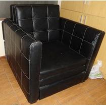 Sofacama Tacto Cuero Negro Diseño Exclusivo S/450