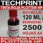 Botella Tinta Plotter Hp Rojo 120 Ml Para Sistema Continuo