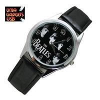 Reloj The Beatles Correa De Cuero Negra No Llavero No Usb