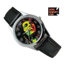Reloj Bob Marley Correa De Cuero Negra No Llavero No Usb