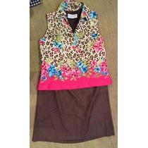 Conjunto De Seda -falda Y Blusa
